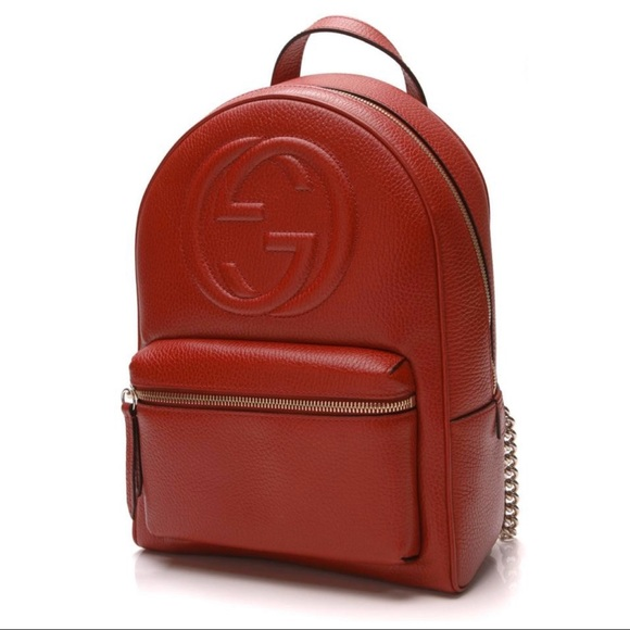 Gucci Handbags - Authentic Gucci Soho Red Chain Backpack